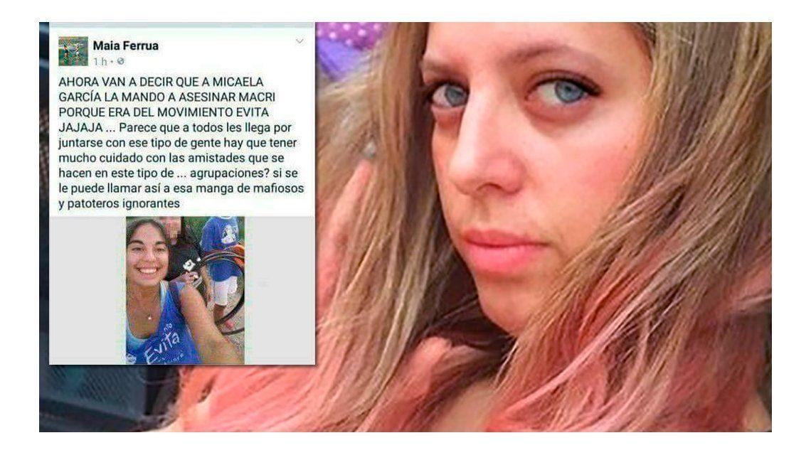 Esta es la publicación de la funcionaria sobre el femicidio de Micaela