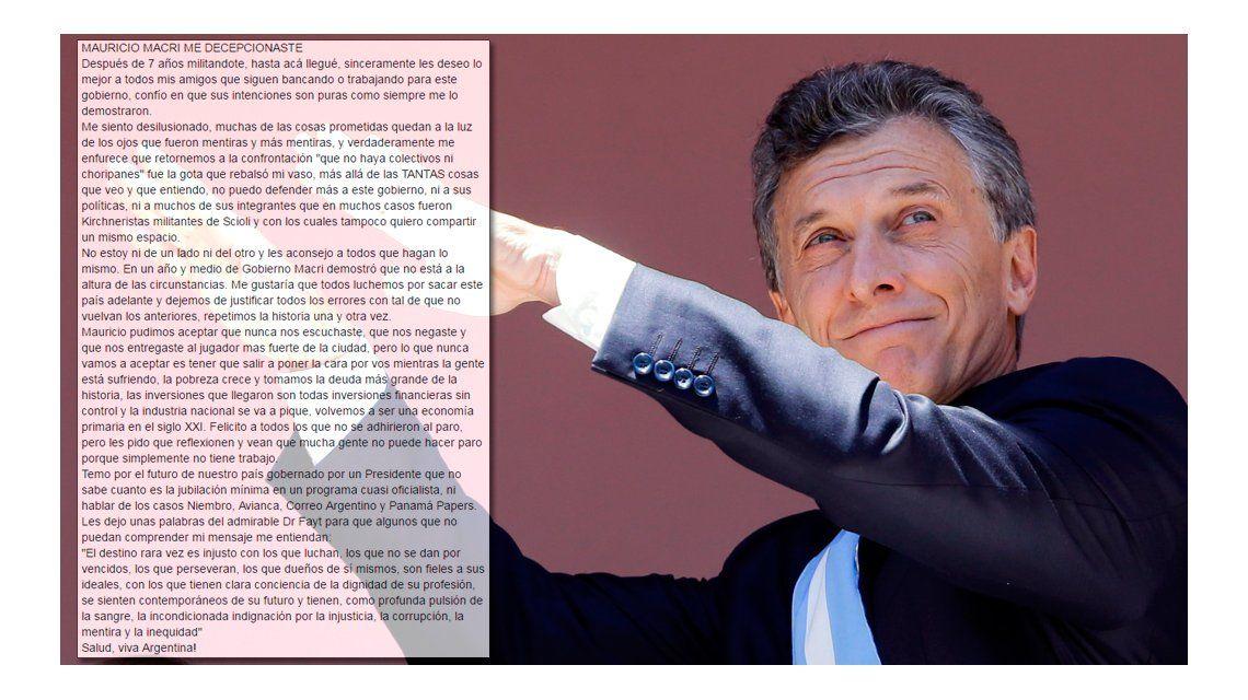 Dura carta de un militante del PRO a Macri: Mauricio
