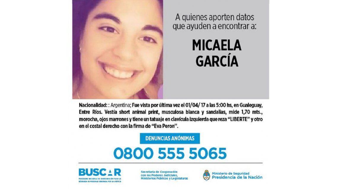 Recompensa por Micaela García