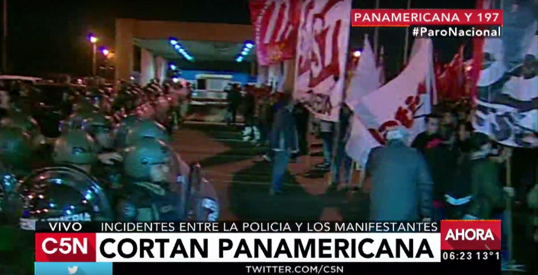 Paro nacional: corte total en Panamericana y 197