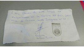 La nota que recibió un hombre tras olvidarse sus llaves en Córdoba