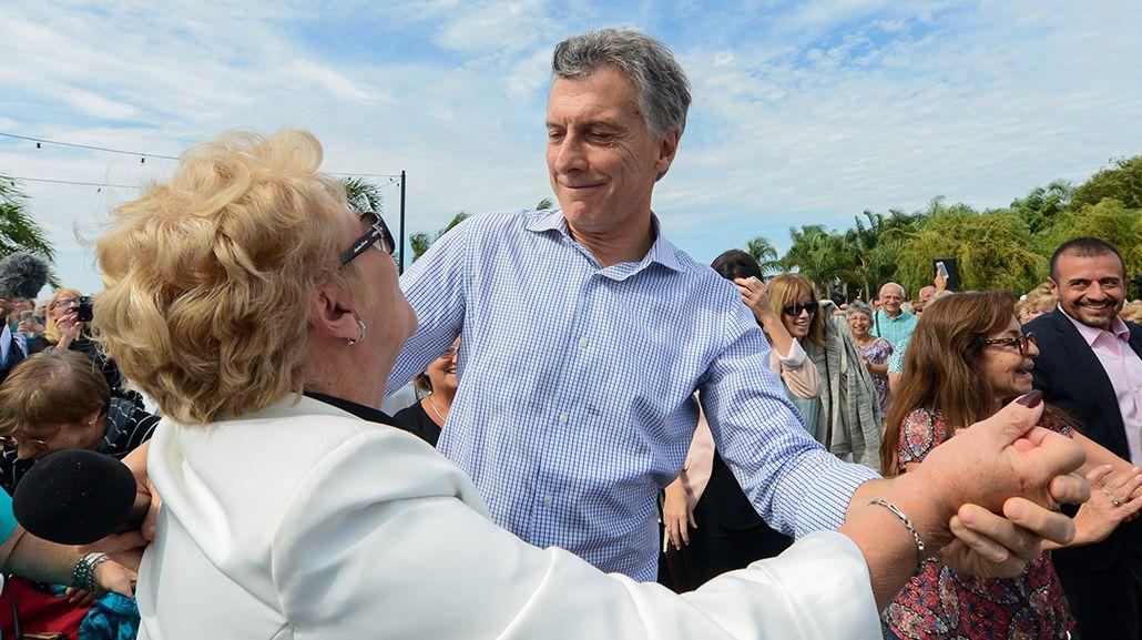 Mauricio Macri en un acto con jubilados