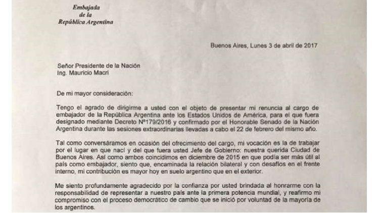 La carta de Lousteau a Macri