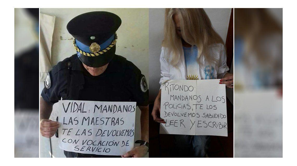 Policías vs. Maestros: el viral que inundó las redes en medio de la protesta