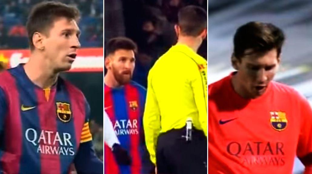 Messi insultando a árbitros con la camiseta del Barcelona