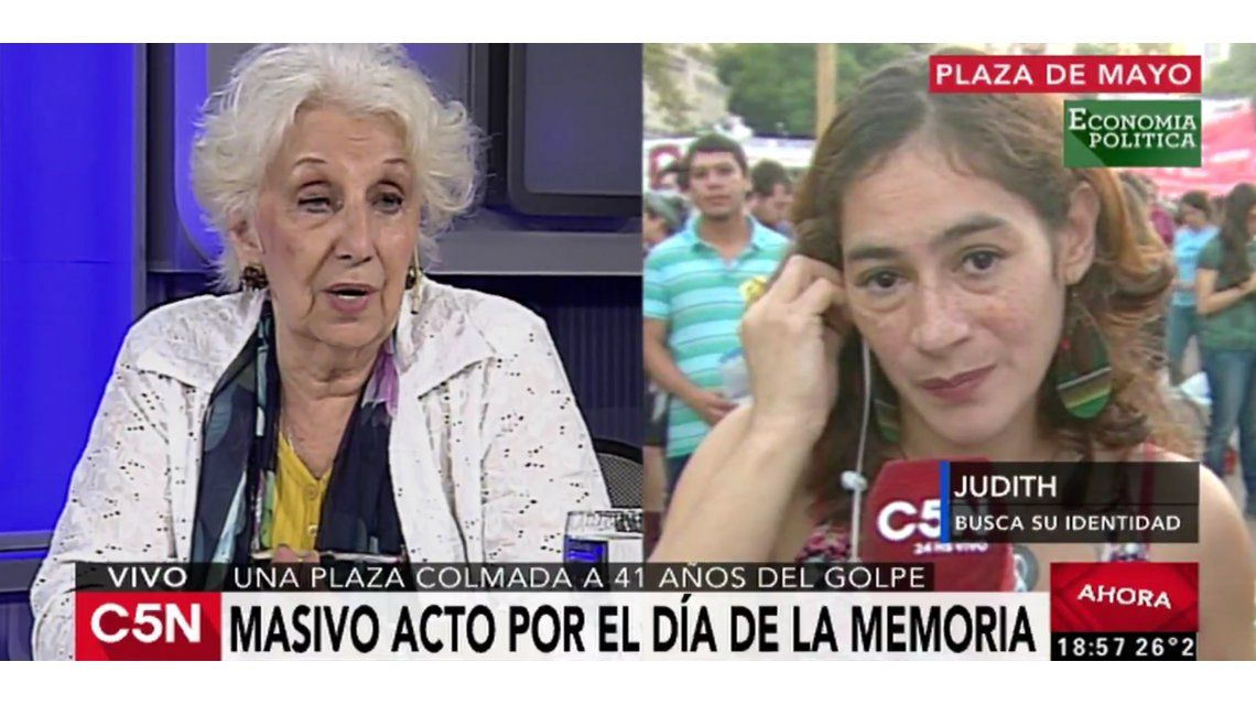 Estela de Carlotto habló en vivo por C5N con una mujer que busca su identidad