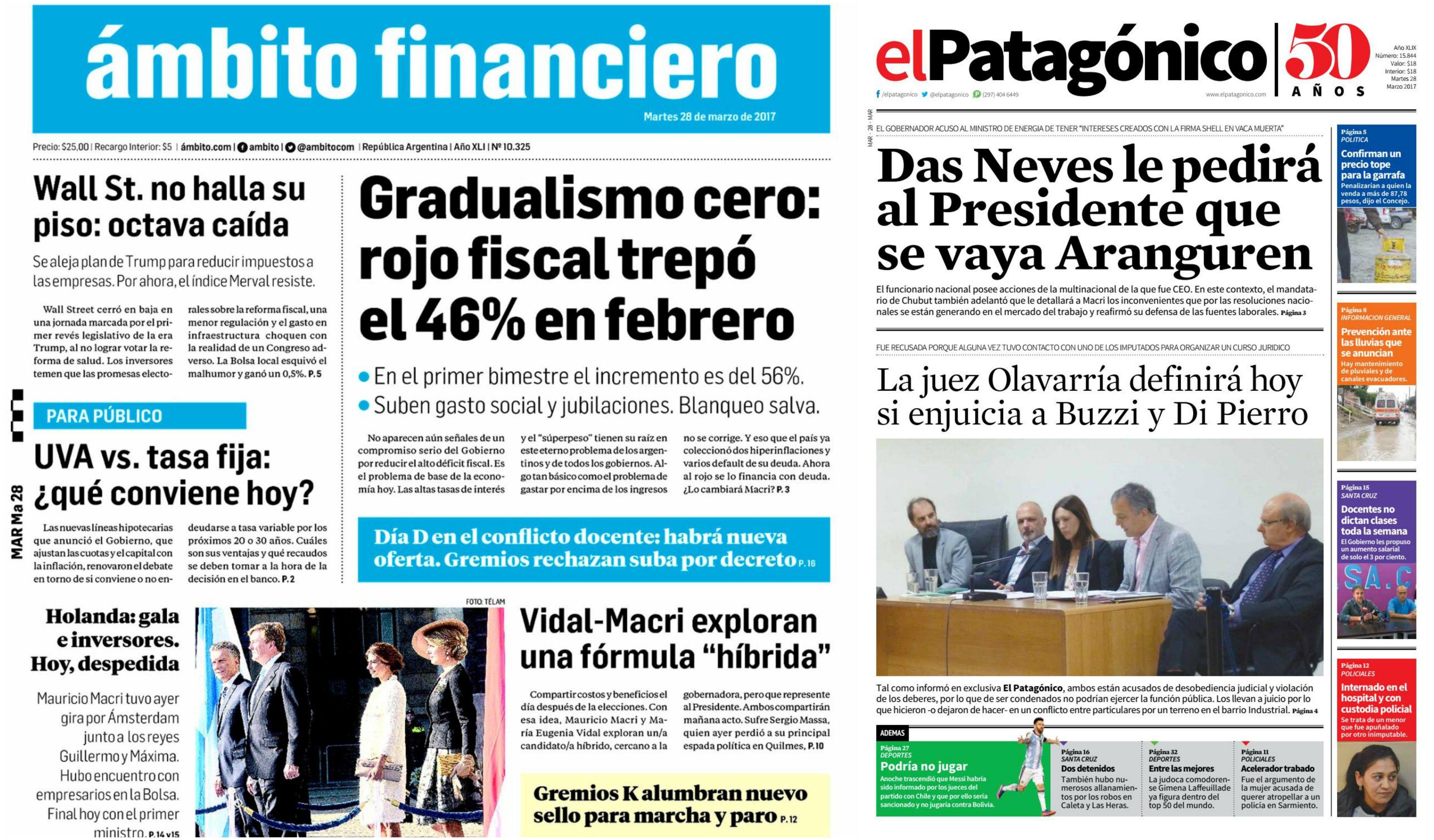 Tapas de diarios del 28 de marzo de 2017