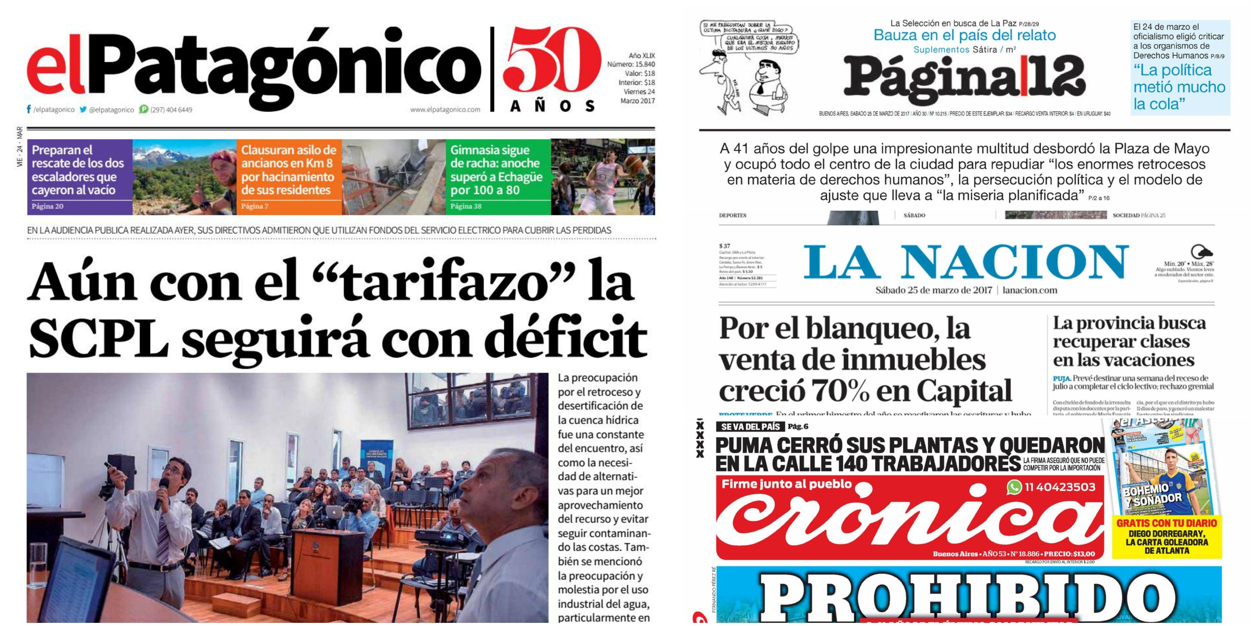 Tapas de diarios del 25 de marzo de 2017