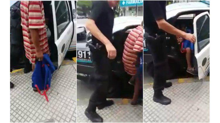 Capturas del video que se viralizó del menor detenido