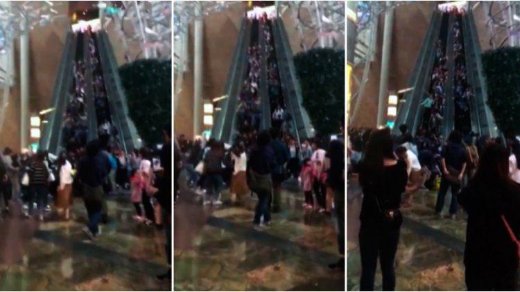 Terrible accidente en una escalera mecánica de Hong Kong