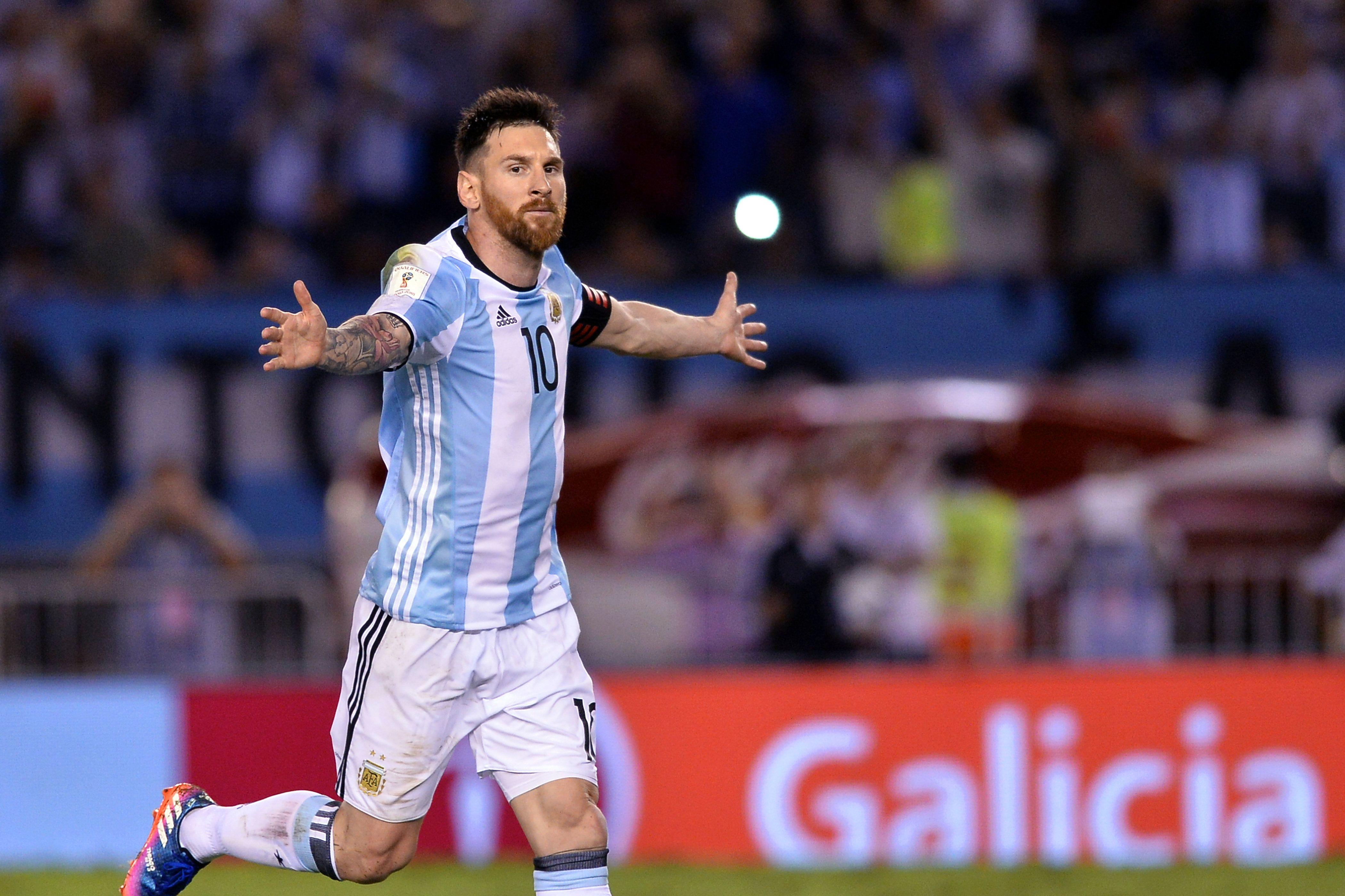 Messi celebrando su gol ante Chile