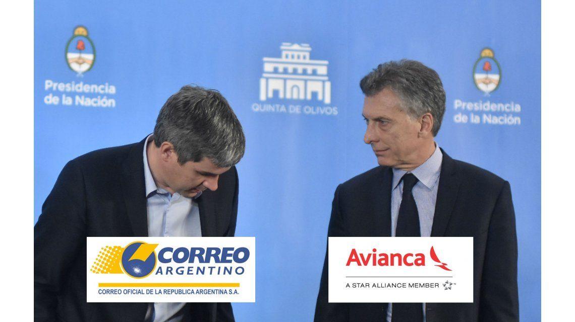Marcos Peña y Mauricio Macri; el Correo Argentino privatizado y Avianca