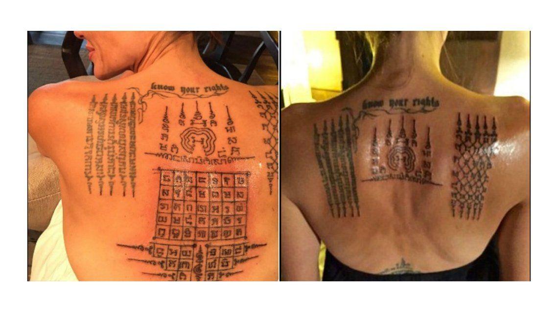 El impresionante tattoo de Angelina Jolie