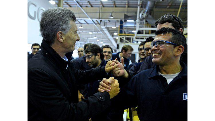Mauricio Macri en la planta de General Motors