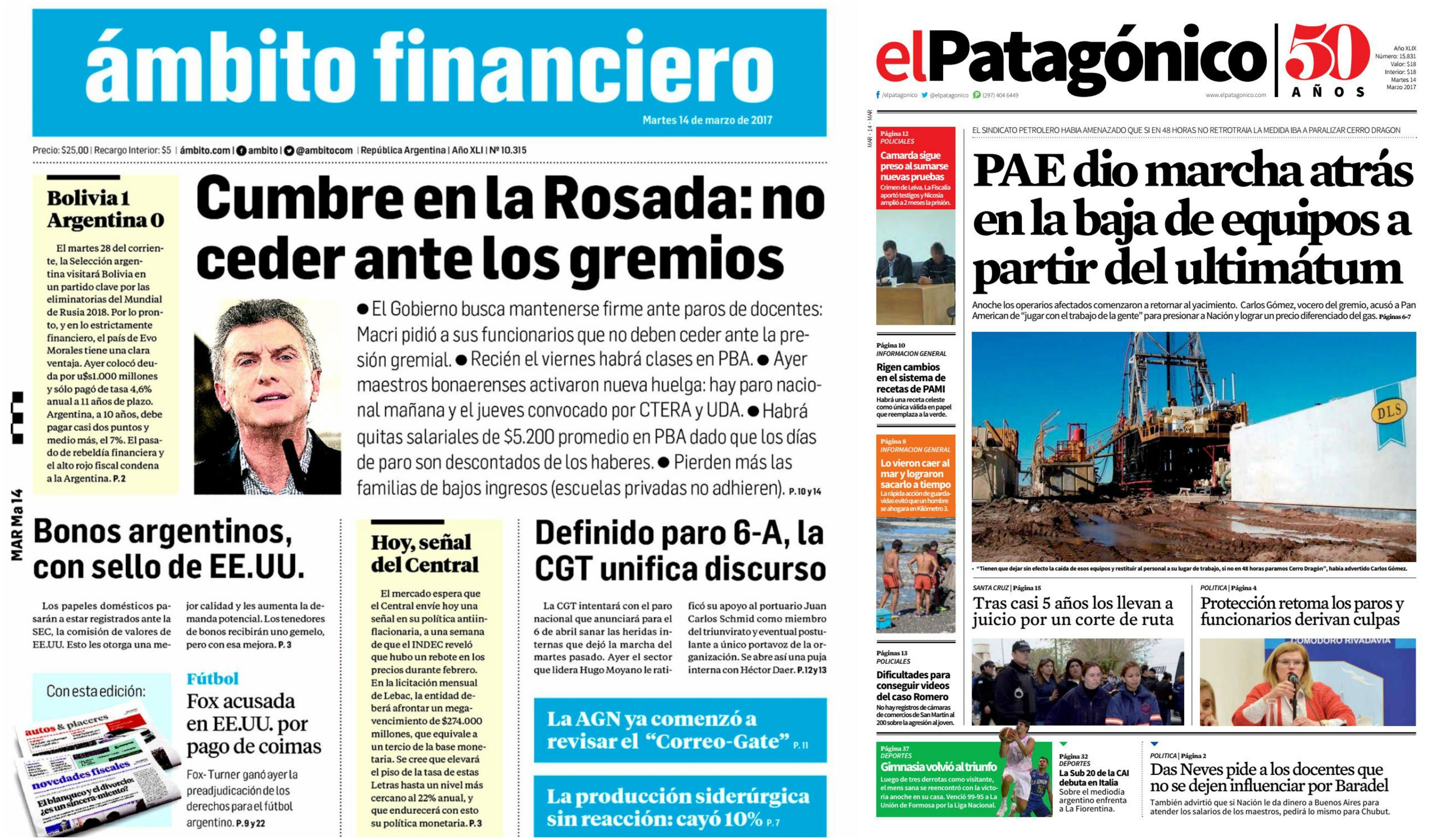 Tapas de diarios delmartes 13 de marzo de 2017.