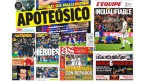 Tapas de diarios con el triunfo del Barcelona ante el PSG por 6 a 1