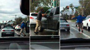 Le rompió el vidrio de la camioneta para tirarle gas pimienta