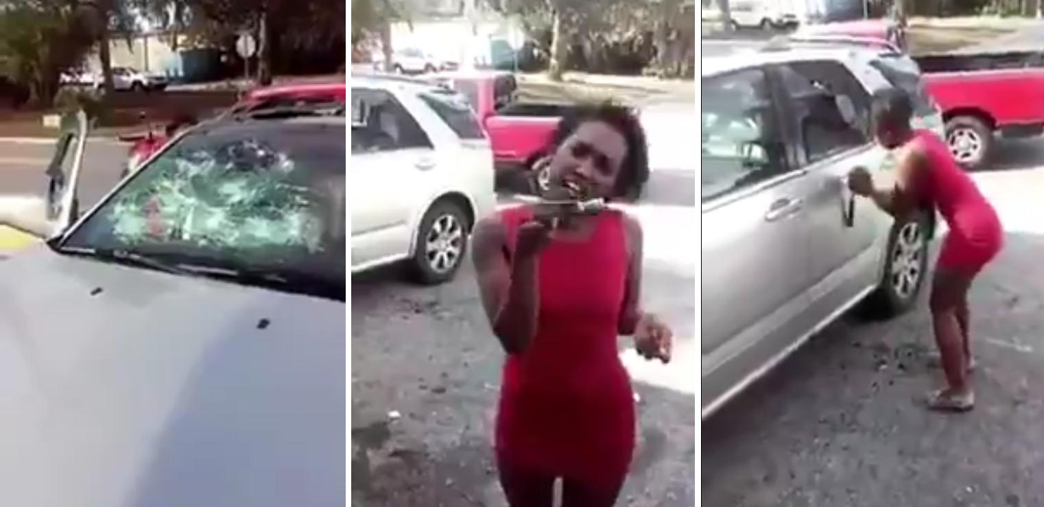 Se enteró que la engañó y le destruyó el auto con un martillo