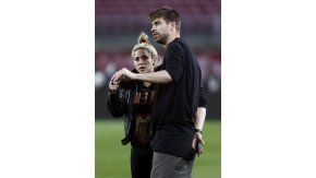 Piqué con Shakira antes del partido con el PSG