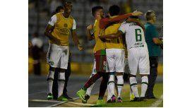Festejo tras el debut del Chapecoense en la Libertadores 2017