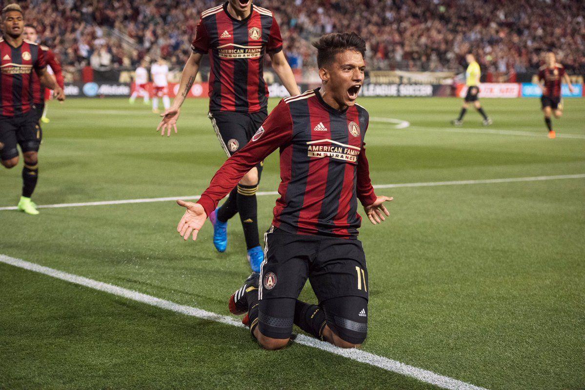 Yamil Asad celebra el primer gol de la historia delAtlanta United