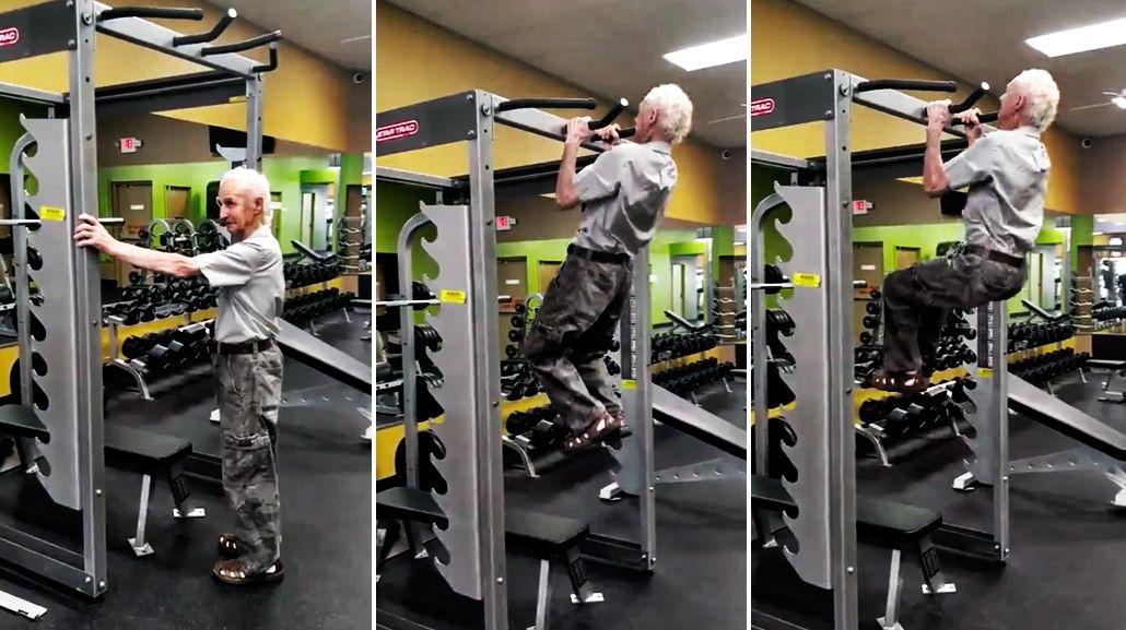 Un abuelo muestra que con 90 años puede seguir en el gimnasio