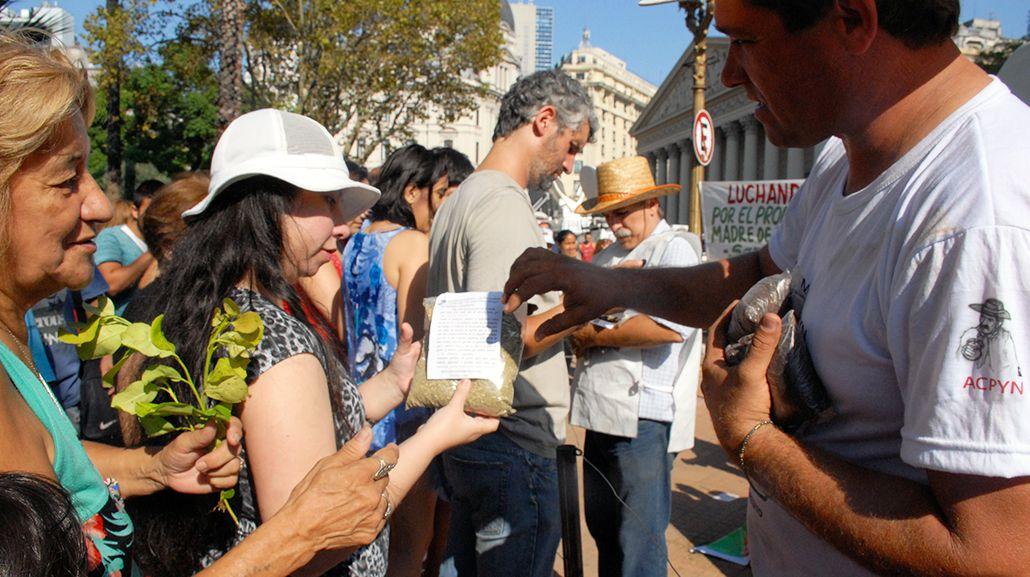 <p>Yerbateros en una protesta en Plaza de Mayo</p>