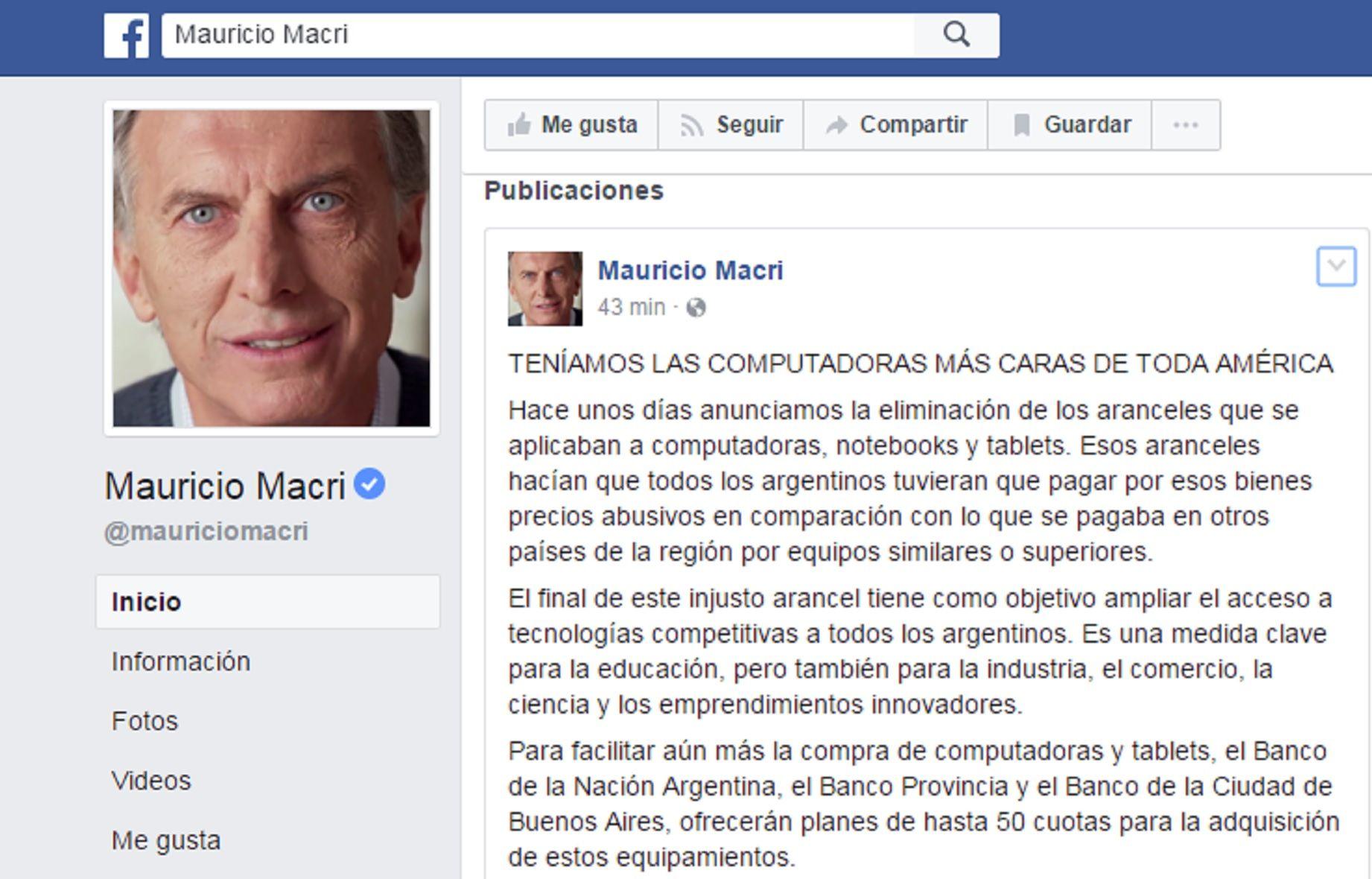 Polémico posteo de Macri en Facebook