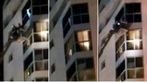 Rescatan a una nena que estaba colgada de un balcón