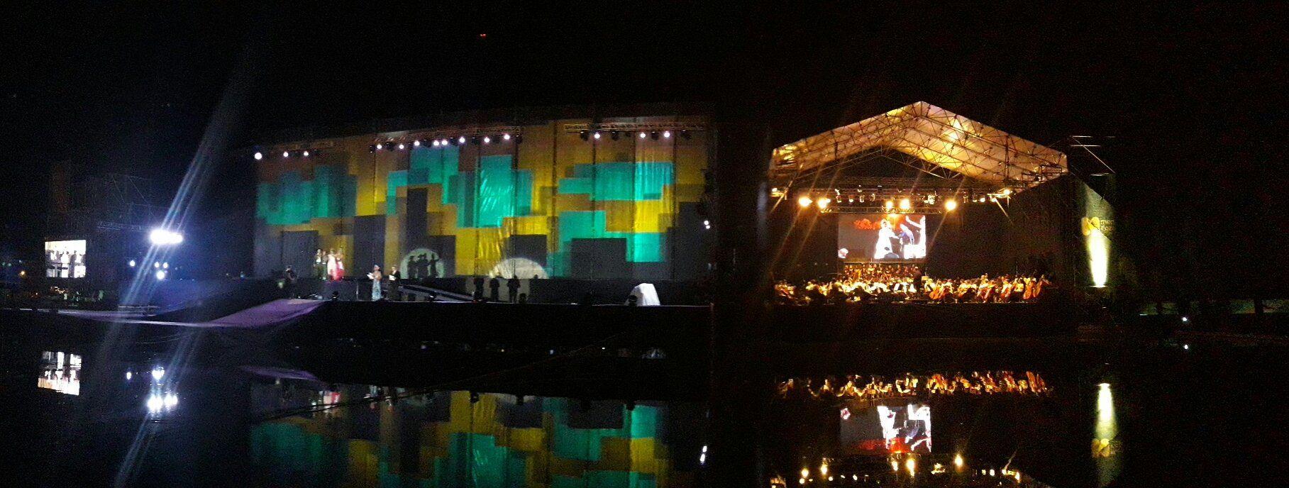 Así lucía el escenario de la Vendimia de la Ciudad de Mendoza antes del temporal