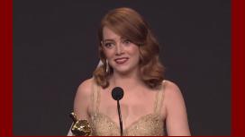 Emma Stone, en la conferencia de prensa de los Oscar 2017.