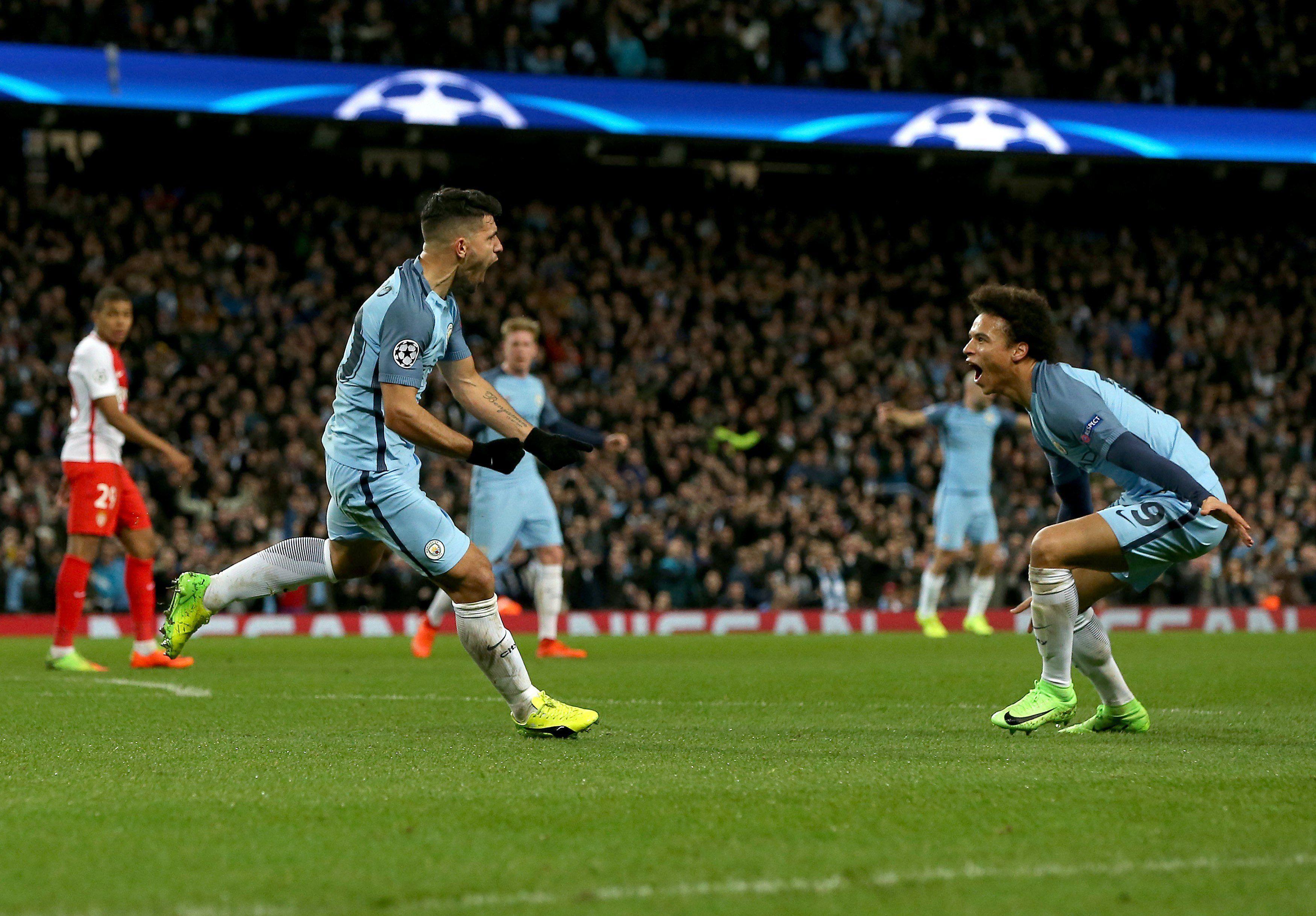 Con dos goles de Agüero, el City se lo dio vuelta al Mónaco en un partido electrizante