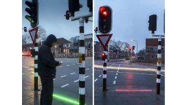 Las luces les indican a los transeúntes cuando es peligroso cruzar