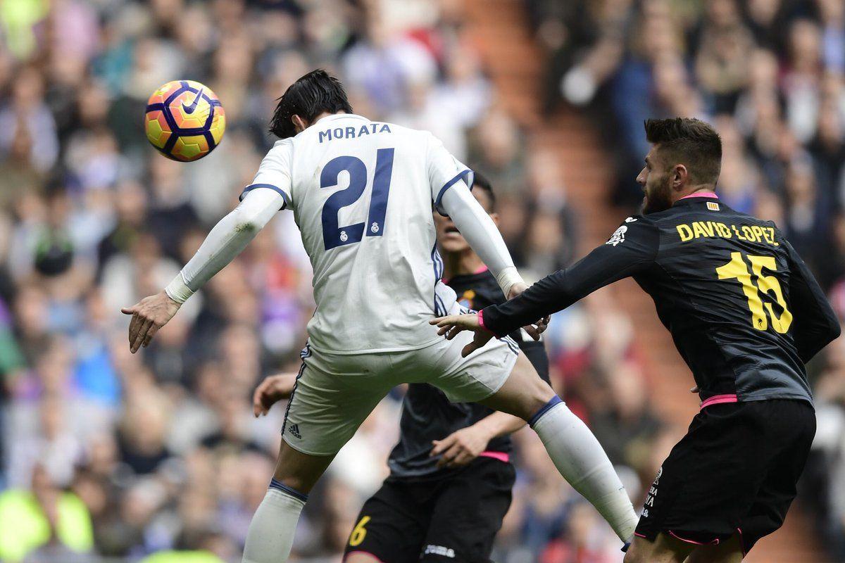 El gran cabezazo de Morata ante el Espanyol