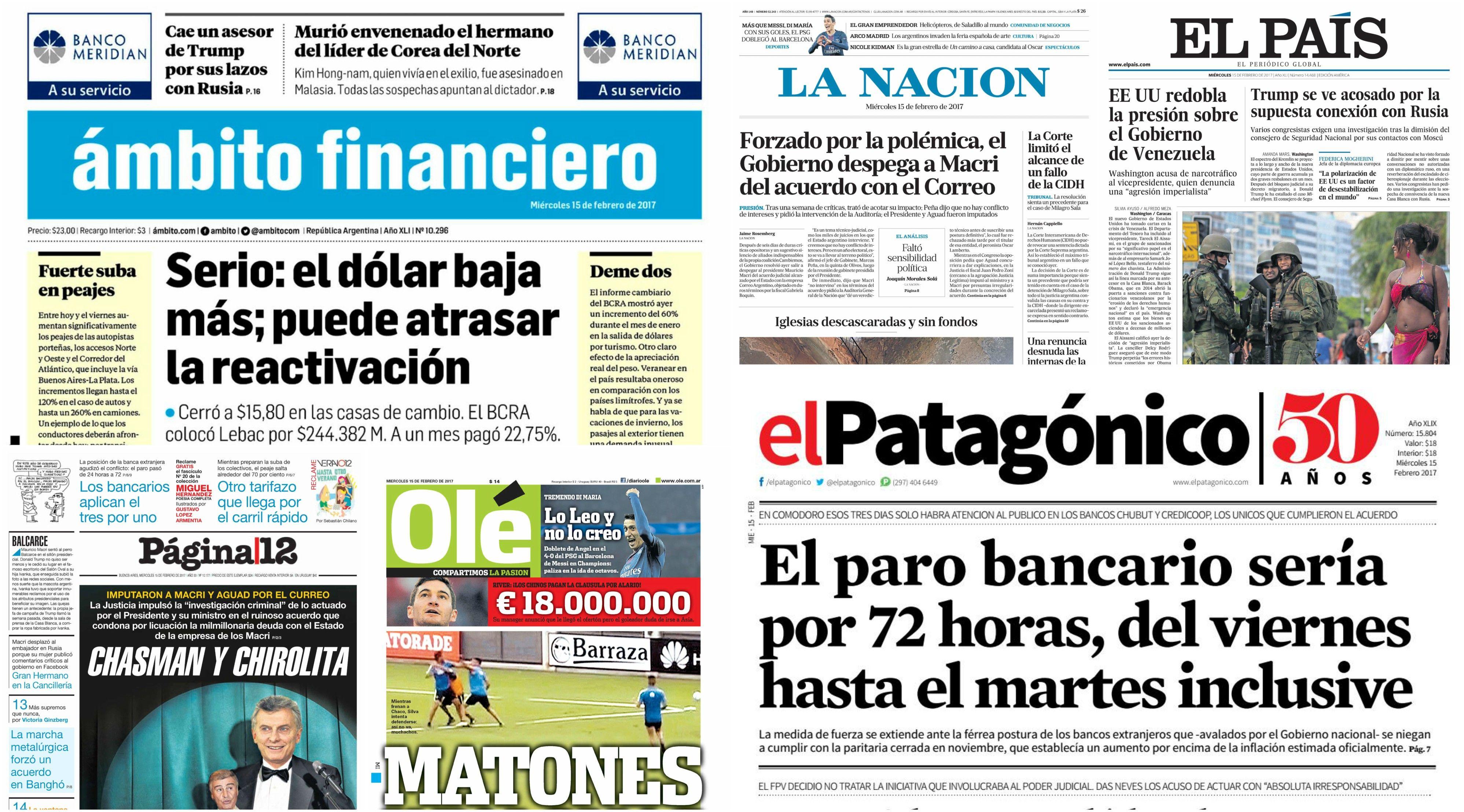 Tapas de diarios del miércoles 15 de febrero de 2017