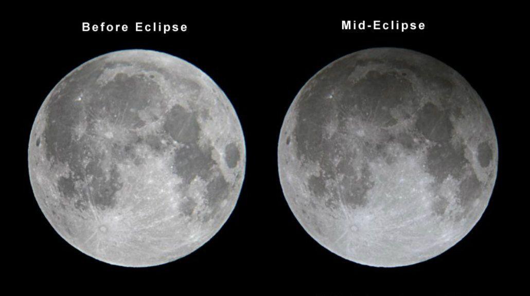 La luna antes y durante el eclipse penumbral