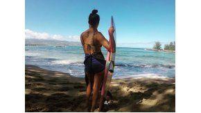Juana Viale: vacaciones a puro deporte acuático