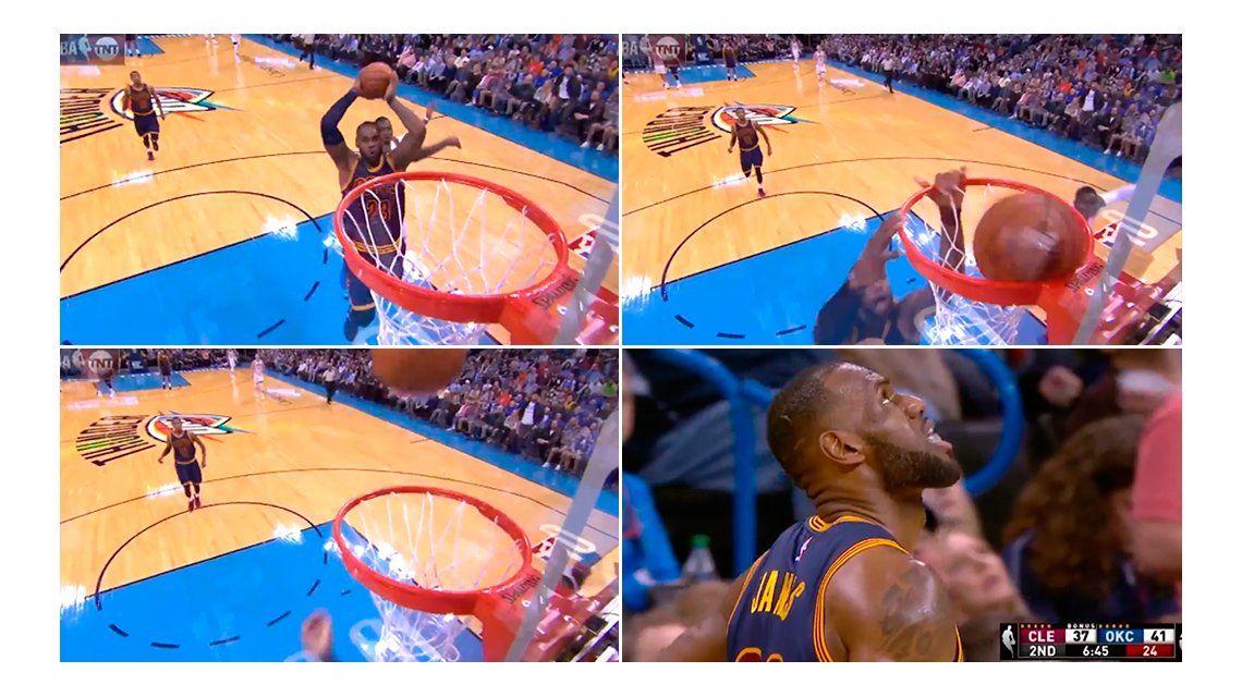 VIDEO: LeBron James la quiso volcar, erró y terminó al piso