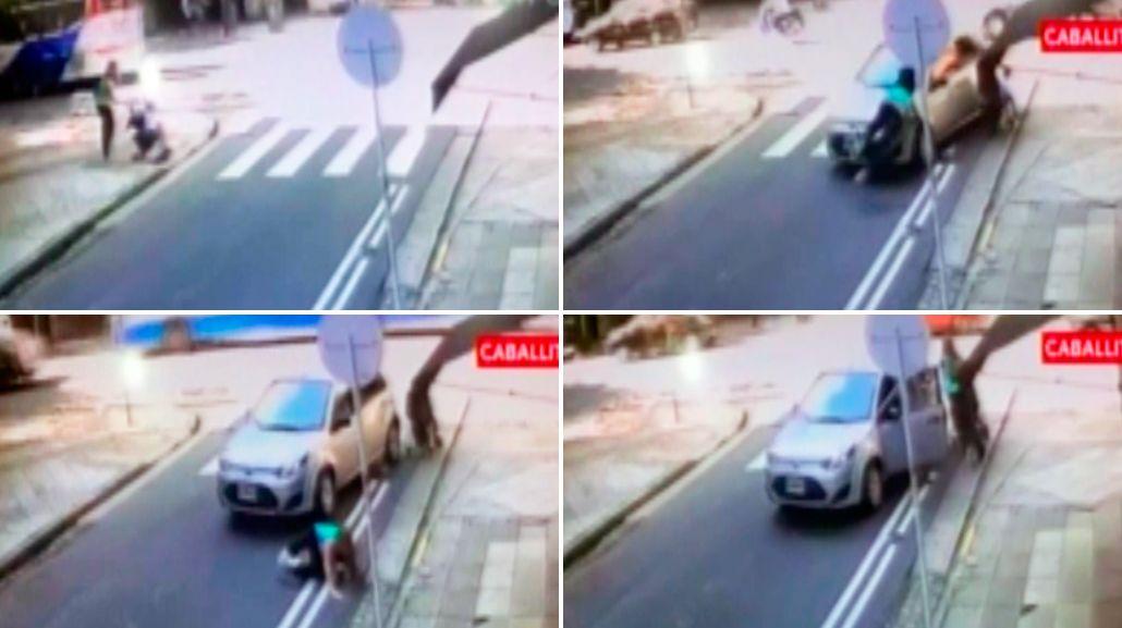 VIDEO: Atropellaron a una mujer y su bebé y se salvaron de milagro