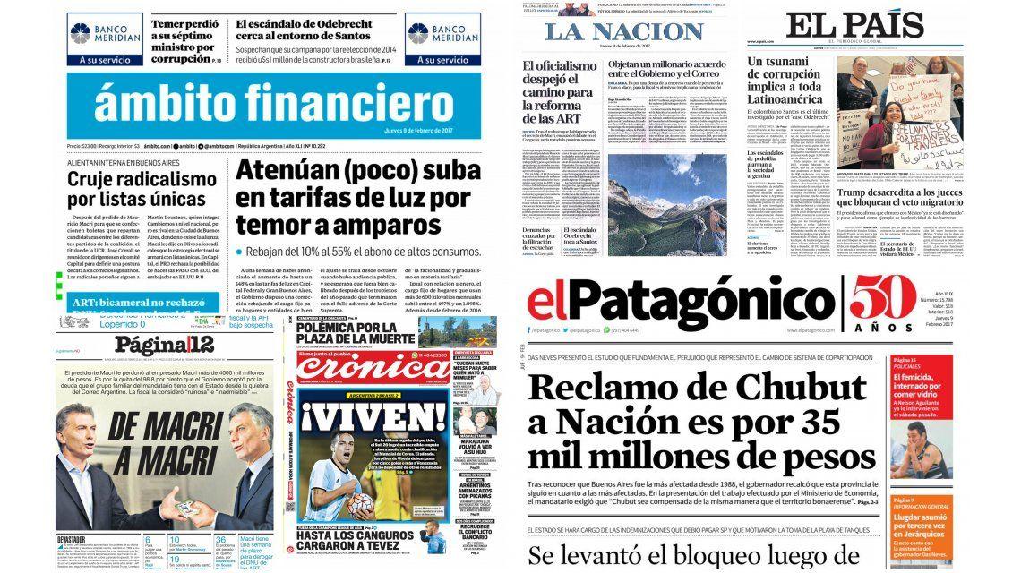Tapas de diarios del jueves 9 de febrero de 2017