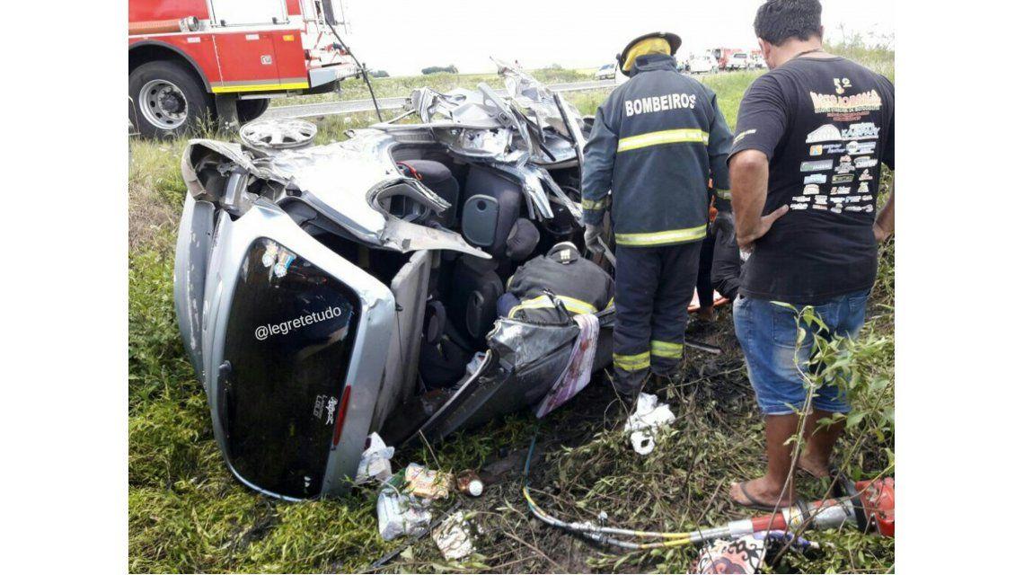 Choque entre cuatro autos argentinos en Brasil