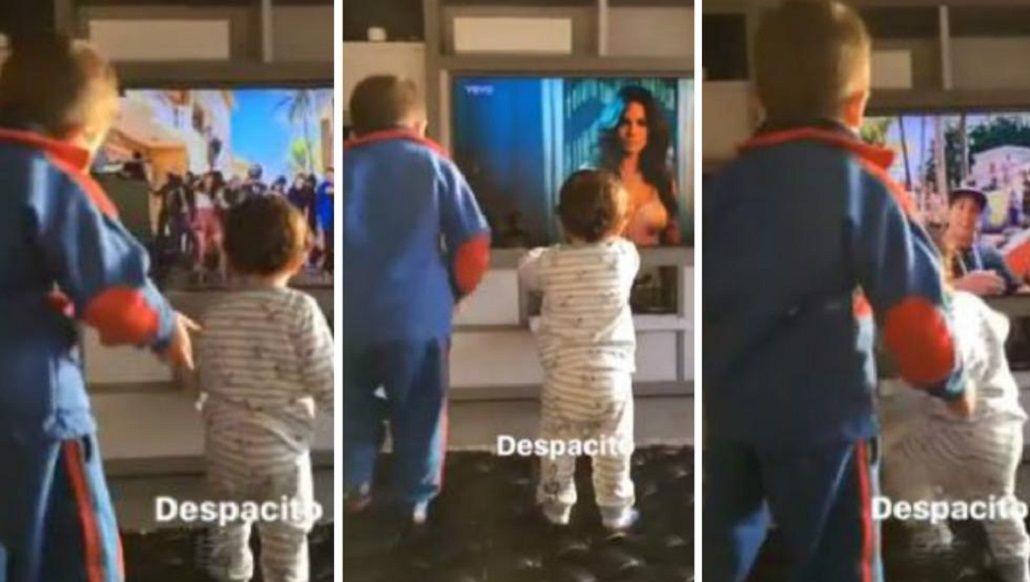 Los hijos de Messi bailando