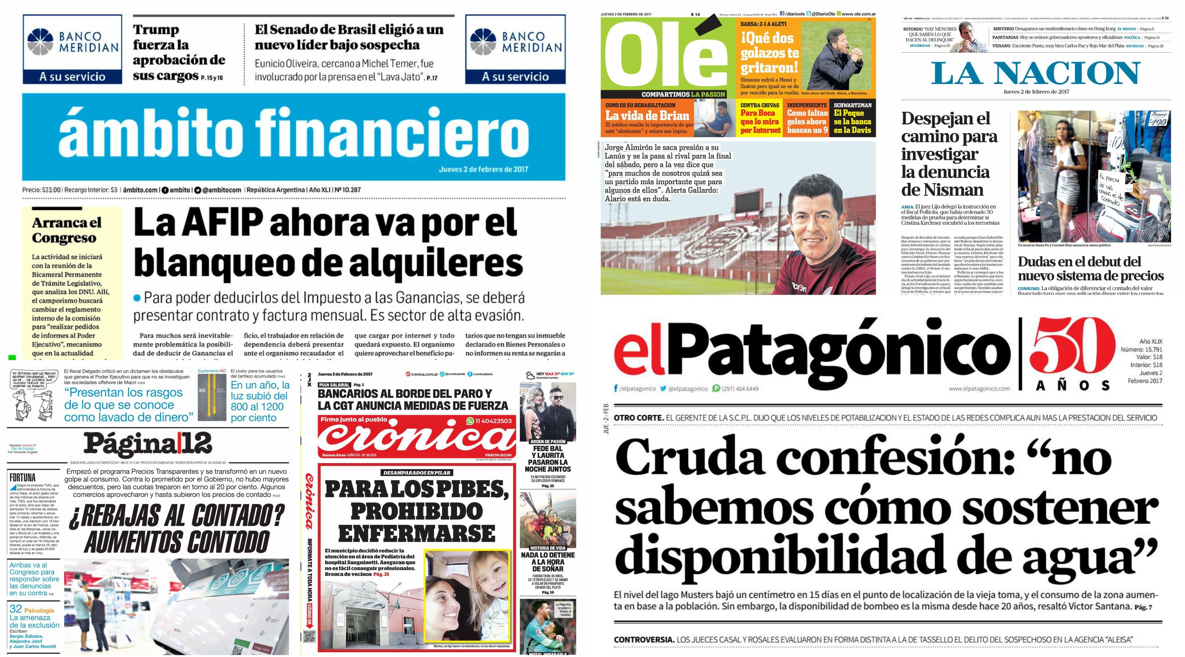 Tapas de diarios deljueves 2 de febrero de 2017