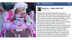 Sergio Paz, el papá de la nena que perdió el peluche, pidió ayuda en Facebook
