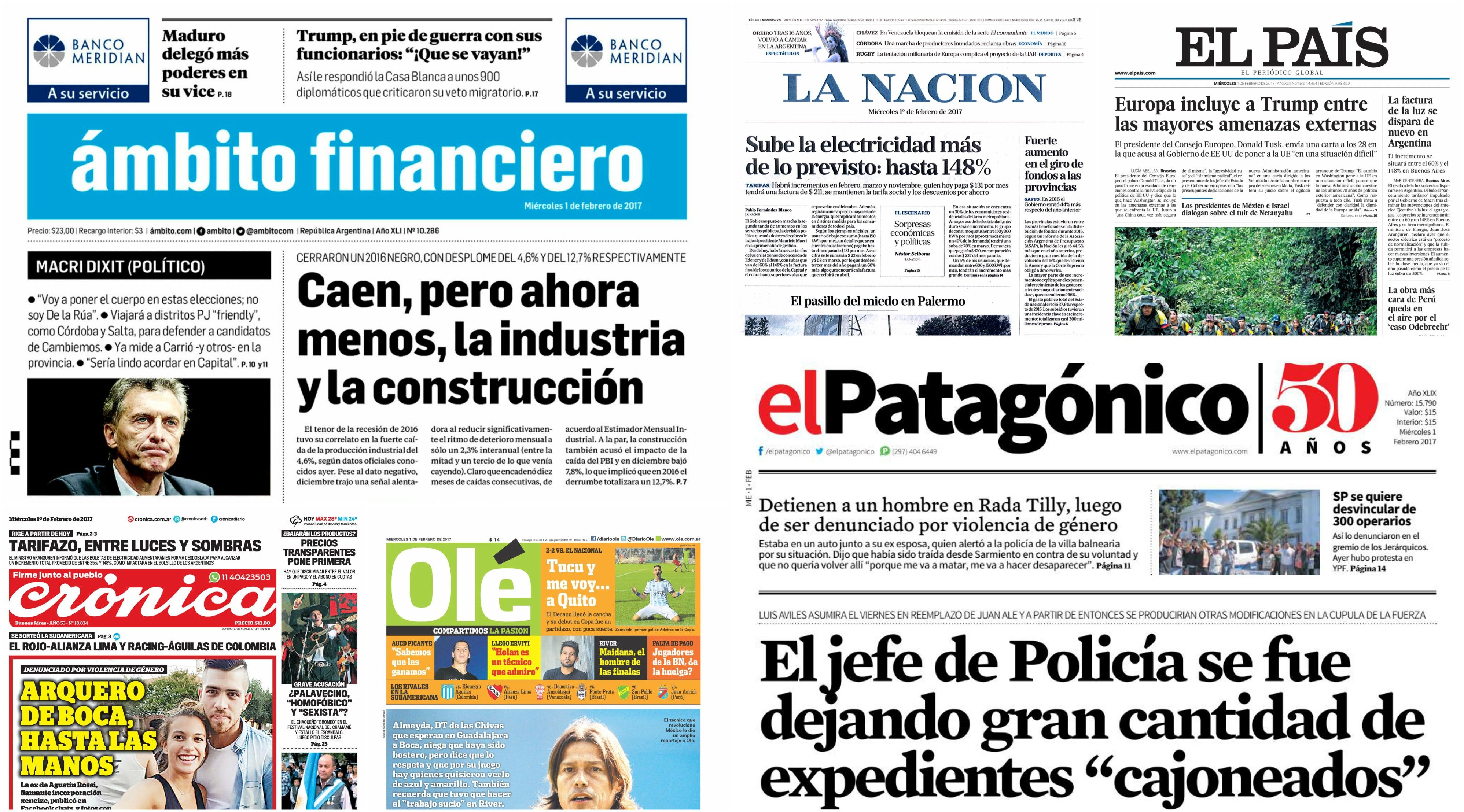 Tapas de diarios del miércoles 1 de febrero de 2017
