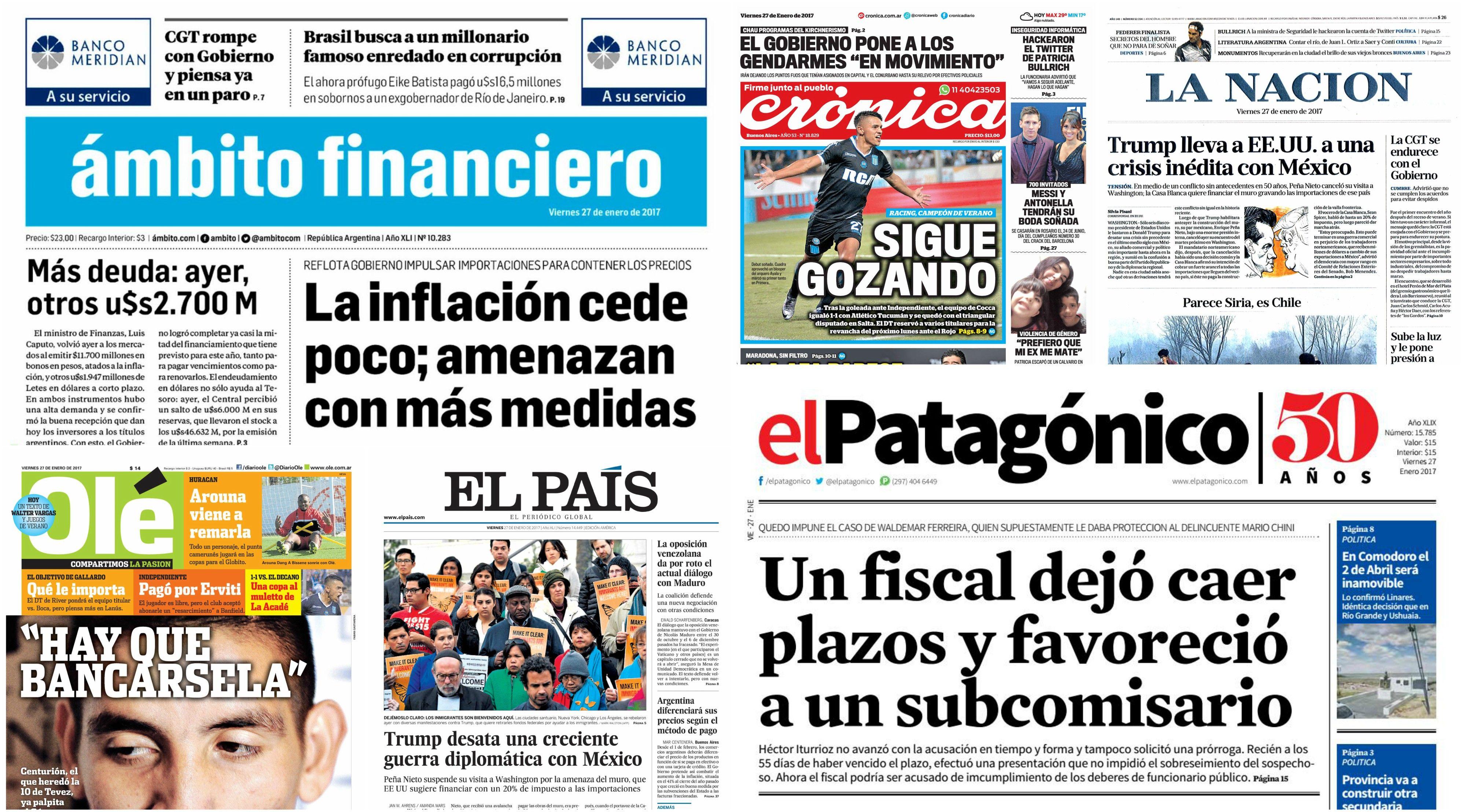 Tapas de diarios del viernes 27 de enero de 2017