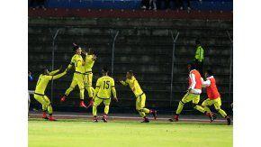 Festejo de la Selección Colombia tras el agónico gol de Ever Valencia