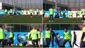 La chilena de Suárez en pleno entrenamiento