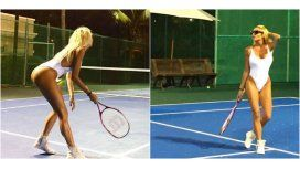 Vicky tomó clases de tenis en México