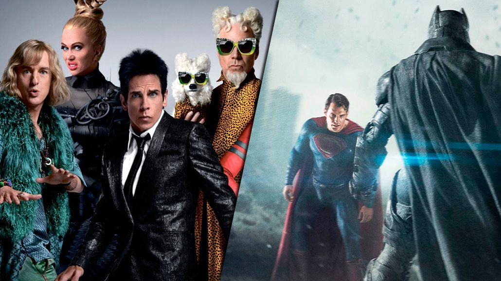 Zoolander 2 y Batman vs Superman encabezan la lista